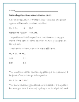 Balancing Equations Game