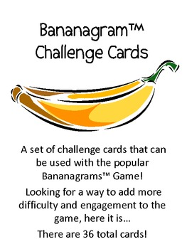 Bananagrams Challenge Cards, Set of 36
