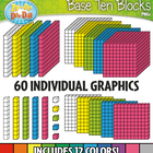 Base Ten Blocks Cube Set 1 — Over 25 Rainbow Color Graphics!