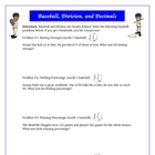 Baseball Division and Decimals Math Activity Game Common Core