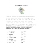 Baseball Riddle Math Practice Worksheet
