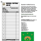 Baseball Softball Line Up Roster Card PDF for Coaches, Dug