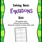 Basic Algebraic Equation Quiz With Answer Key