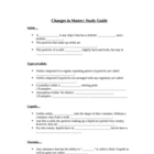 Basic Chemistry/Physical Science: Changes in Matter- Study guide