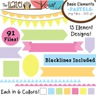 Basic Elements Clip Art Set - Frames, Badges, Banners, & P