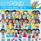 Basic Stick Kids Super Set #1  - Clipart for Teachers