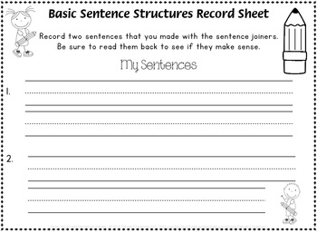 Basic Structures Learn to Read Level 0 Sentence Joiners - 8 pages