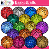 Basketballs Dipped in Glitter Clipart - Celebrate School S