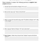 Battle of Bunker Hill Webquest Worksheet
