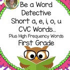 Be a Word Detective Short a, e, i, o, u CVC Words... Freebie