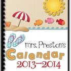 Beach Themed 2013-2014 Personal Planning Calendar