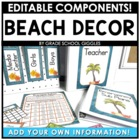 Beach Themed Editable Classroom Pack