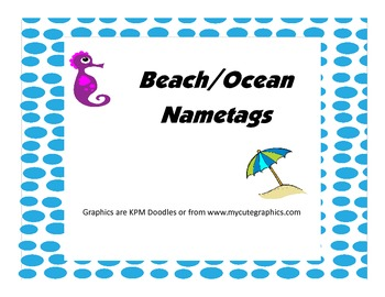 Beach and Ocean Themed Desk/Name Tags