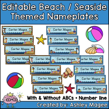 Beach/Seaside Themed Nameplate/Deskplate/Nametags