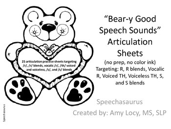 Bear-y Good Speech Articulation Practice Sheets (R, TH, S,