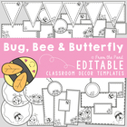 Bee Bug Butterfly Classroom Labels - Blackline Printables