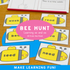 Bee Hunt - Print & Laminate ee & ea Phonics Reading Game