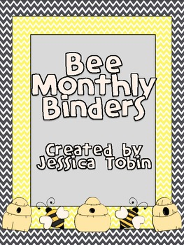 Bee Monthly Binder Covers and Spine Labels