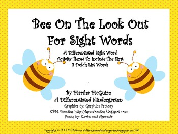 Bee On the Look Out For Sight Words-Differentiated I-Spy