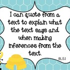 "Bee Theme Common Core ELA Fifth Grade ""I Can"" Statements"