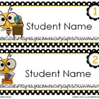Bee-Themed Editable Name Tags