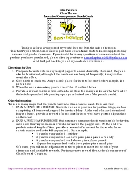 Bee Themed Student Incentive Punch Cards