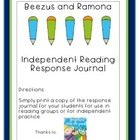 Beezus and Ramona Independent Reading Response Journal