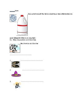 Beg. French clothing: color adjective agreement worksheet