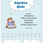 Beginning Algebra Quiz
