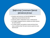 Beginning Consonant Blends Sentence Strips