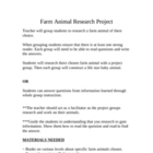 Beginning Research Project~Farm Animals