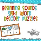 Beginning Sounds, Sight Word Decoder Puzzles
