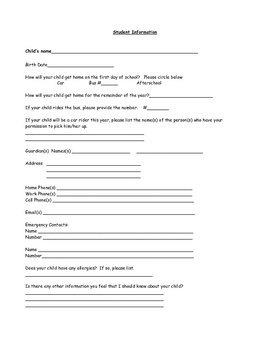 Beginning of Year Parent Packet