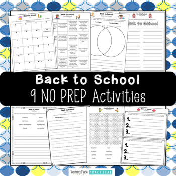 Beginning of the Year Activities: Ready to Use!