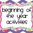 Beginning of the Year Activities