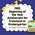 Beginning of the Year Assessment Record for Kindergarten