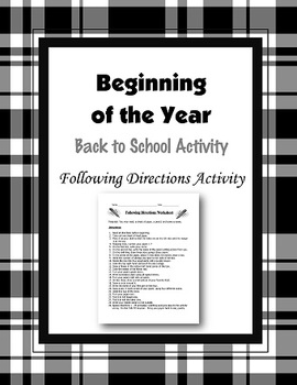 Beginning of the Year Following Directions Activity