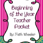 Beginning of the Year Teacher Packet (Swirls &amp; Stripes)