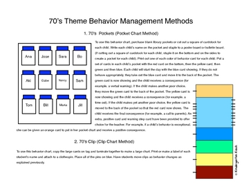 Behavior Clip Chart or Pocket Chart: Groovy 70's Themed