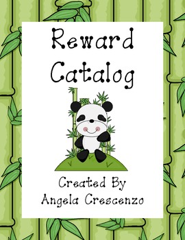 Behavior Management Reward Catalog & Punch Cards Panda Theme