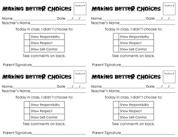 Behavior Slips for Lower Grades