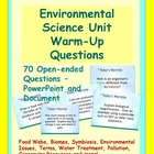 Bell Ringers - Ecology Unit or Environmental Science