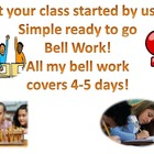 Bell Ringers Topic: Grammar, Spelling, Writing