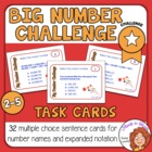 Big Number Task Cards: 32 Multiple Choice Cards for CCS 4.NBT.2