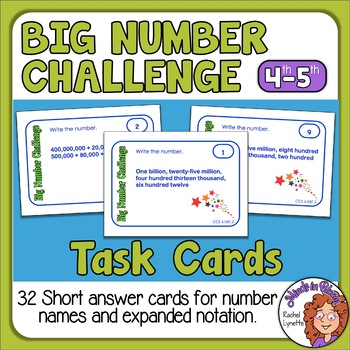 Place Value Task Cards: 32 Short Answer Cards for CCS 4.NBT.2