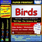 Bill Nye - Birds – Worksheet, Answer Sheet, and Two Quizzes.