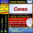 Bill Nye - Caves Worksheet, Answer Sheet, and Two Quizzes.