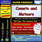 Bill Nye - Comets and Meteors – Worksheet, Answer Sheet, a