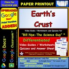 Bill Nye - Earth&#039;s Crust  Worksheet, Answer Sheet, and 
