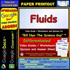 Bill Nye - Fluids  Worksheet, Answer Sheet, and Two Quizzes.